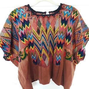 Vintage 70's Embroidered Huipil Ethnic Top  L-XL
